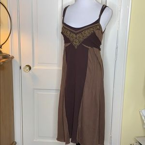 Free People brown dress layered cotton Large